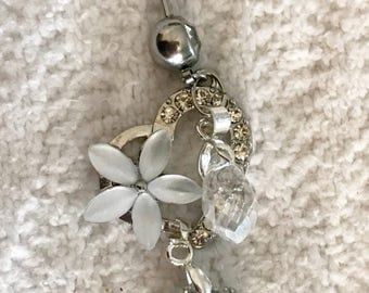 Silver rhinestone 14g belly button ring navel body jewelry with heart, flower and crystal charms