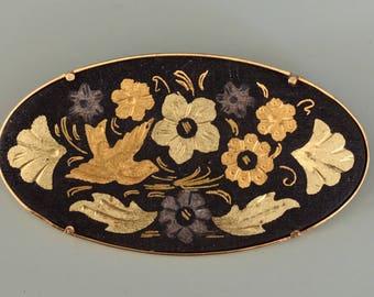 Vintage  Damascene Flower & bird brooch