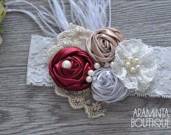 Baby Flower Headbands, Pearls, Diamante & Lace Headbands. Red and Cream Gold and Silver. Unicorn Headbands. Cake smash, Birthday and Party A