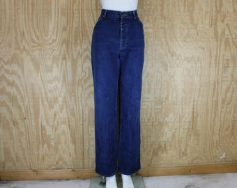Vintage 1980's LEE Denim Blue Jeans Dark Wash High Rise Waist Straight Leg 30 X 32