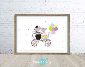 Mice On A Bike Print, Fun, Bright, Kids, Wall Art, Digital Download, Dots, Bike, Balloons, Children's Room, Interior Design, Large Poster