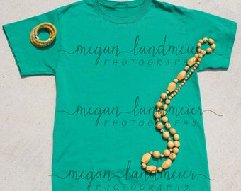 Mockup of Green Adult Unisex T with Women's Accessories