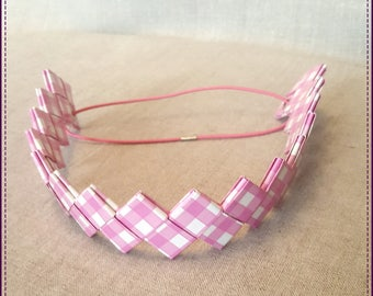 Headband, a strip of paper, laminated, pink and white checkered