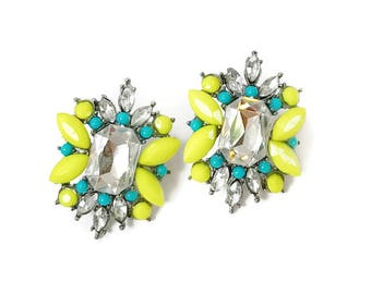Statement Studs, Statement Jewelry, Yellow Earrings, Crystal Earrings, Bridesmaid Earrings, Prom
