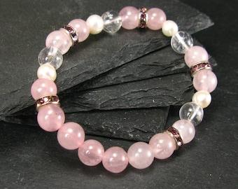 Rose Quartz Pearls & Quartz Genuine Bracelet ~ 7 Inches  ~ 6-8mm Round Beads