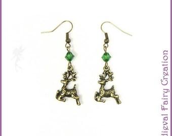 """Carria"" green crystal earrings"