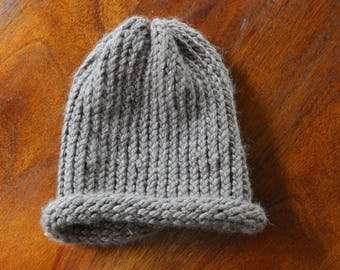 Handmade Brown Knitted Hat Adult Size