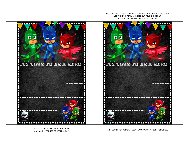 PJ Masks Invitation Pj Masks Birthday Pj Masks Invites Pj Masks - Pj masks invitation template free