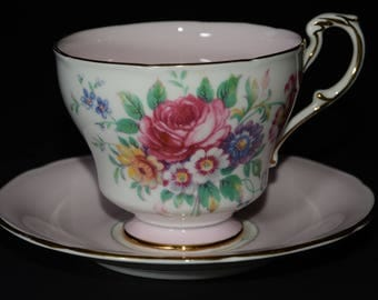 PARAGON Footed, pink and white, Tea Cup and Saucer, by Appointment, To Her Majesty the Queen, China Potters, Bone China, flower bouquet