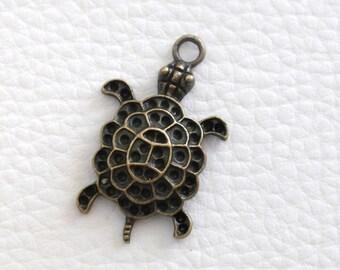 Bronze turtle pendant charm