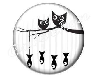 2 20mm glass cabochon, cabochon OWL fish owl silhouette, black and white tone