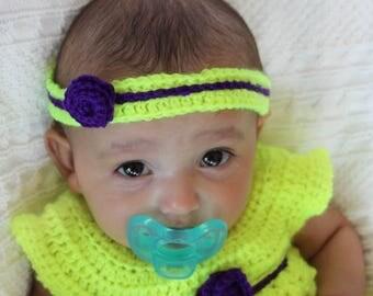 Baby Girl Crochet Dress and Headband