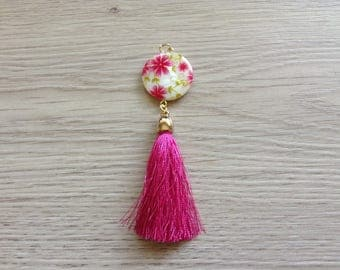 Hot pink tassel and Pearl pendant