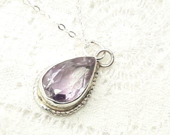Sterling Silver Amethyst Teardrop Necklace/Vintage/February Birthstone /Handmade/Free Shipping US/Birthday/Valentine/Anniversary  /Christmas
