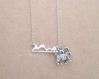 Silver Rocky Mountain Goat Pendant Necklace