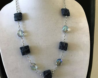 Denim color and glass beads necklaces
