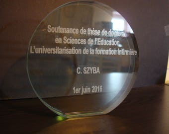 Trophy glass round engraving text or design of your choice. Award, diploma, ceremony