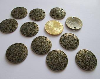 lot de 11 connecteur médallon rosace en métal couleur bronze  18 mm