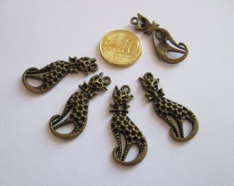 4 breloque chat en métal couleur bronze 33 X 14 mm