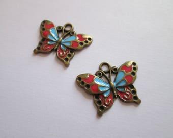 2 breloque papillon en métal bronze Email rouge et bleu 26 X 19 mm