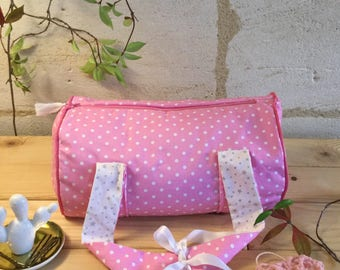 """Pink polka dot"" cotton dance bag and tassel."