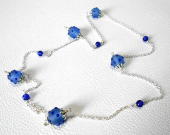 """""""Sailor"""" necklace, blue hedgehog beads and silver chain"""