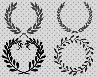 Wreath SVG, dxf, png, eps, Floral wreath svg and silhouette cameo, Laurel wreath svg, Laurel cricut, Monogram svg, Monogram cricut