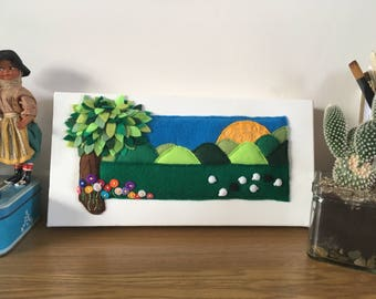 Sheep in the Fields 3D Felt picture