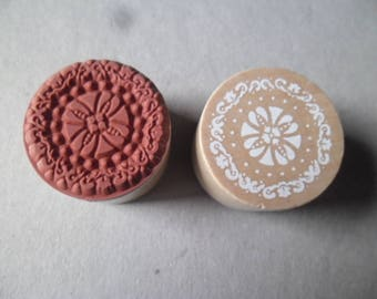 x 1 Mint stamp round wooden motif lace / flower n ° 2