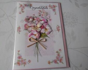 x 1 large dual tone pink/white flower pattern 3D card + envelope pink 21 x 14 cm