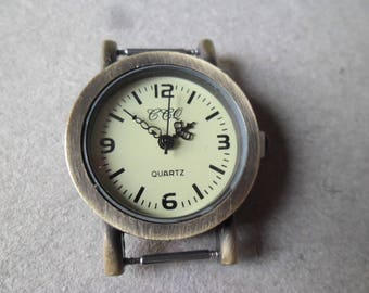 x 1 round quartz watch face vintage raw brass aged 3.2 x 2.7 cm (battery included)