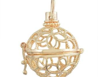 x 1 pendentif cage de Bali Bola Mexicain motif fleur ciselé pour bille d'Harmonie Bébé métal doré  3,8 x 2,8 cm(A)