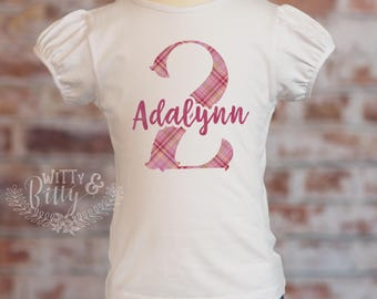 Second Birthday Plaid Puff Sleeve Shirt, Pink Plaid, Personalized 2nd Birthday Girls Outfit, Custom Birthday Top, Plaid Birthday Tee - P429A