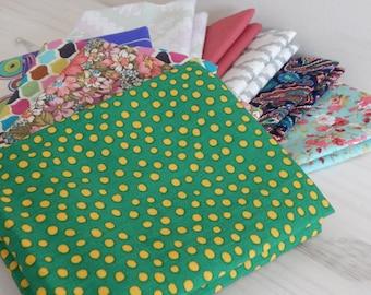 10 Fat Quarter Bundle, Quilting Fabric, Scrappy Bundle
