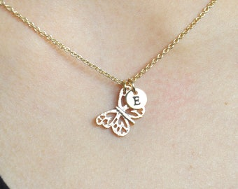 Gold Butterfly Necklace, Tiny Butterfly Charm Necklace, Personalized Butterfly initial Necklace, Mothers Gift, Best Friends Gift, Wife Gift