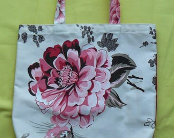 tot bag or purse Tote, canvas print big Ecru flower background, has shoulder