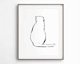 Cat Wall Art, Cat Print, Cat Poster, Black and White, Cat Artwork, Cat Lover, Instant Download, Sitting Cat, Printable Art, DIGITAL FILE