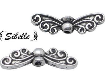 2 x silver butterfly wings