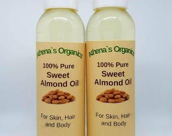 2 Bottles of 100% pure Sweet Almond Oil