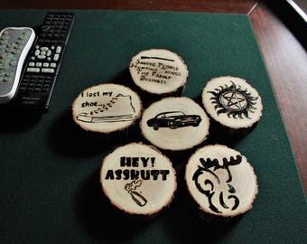 SPN wood burned coasters perfect wedding gift housewarming anniversary geek gift man cave unique handmade customizable