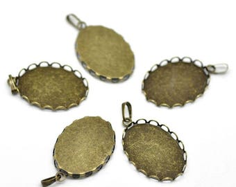 Pendants/Supports cameo oval Bronze 25 mm