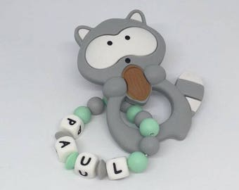 Raccoon silicone teething ring