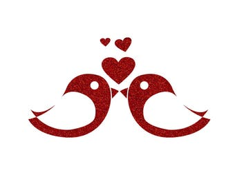 Love birds and hearts in Flex fusible red glitter