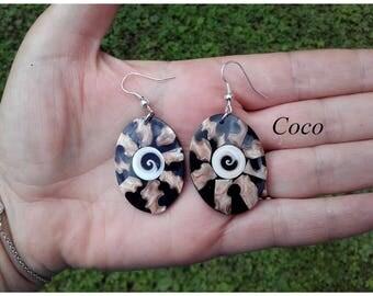 Mother of Pearl resin earrings