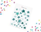 Mint Watercolor stars Stickerset-Watercolor sticker-pretty planning-scrapbooking-bullet journaling