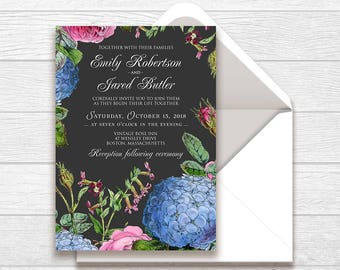 Floral Garden Wedding Invitation Chalkboard Wedding Invite Printable Rustic Wedding Invitation Hydrangea and Roses Flowers Black Invitation