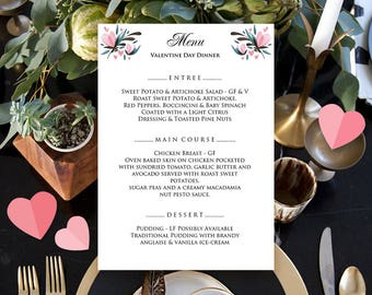 Valentines Day Dinner Menu Floral Wedding Menu Watercolor Flowers Printable Menu Card Reception Menu Template Floral Birthday Menus Download