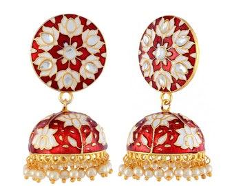 Indian Jhumki Jhumka Earrings, Meenakari Jhumka/Jhumki,Enamel Paint Jhumka,Bollywood,Ethnic,Indian Chandelier Earrings,Indian Bridal Jewelry