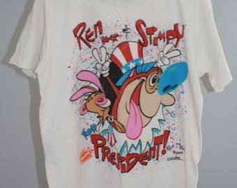 Vintage 1992 Ren and Stimpy for President Large T-shirt