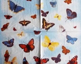 SERVIETTE EN PAPIER Les Papillons Multicolores #AN008